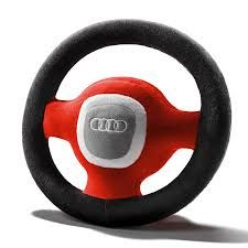 Audi Plush Soft Stuffed Steering Wheel Kids Childrens Toy Red/Grey - 4L0019102A