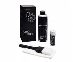 Genuine Audi branded alloy wheel cleaning kit with cleaning fluid, brush and polish 00A096327020