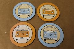 VW Retro Camper Van Set of 4 Coasters ZGB9031411200 New